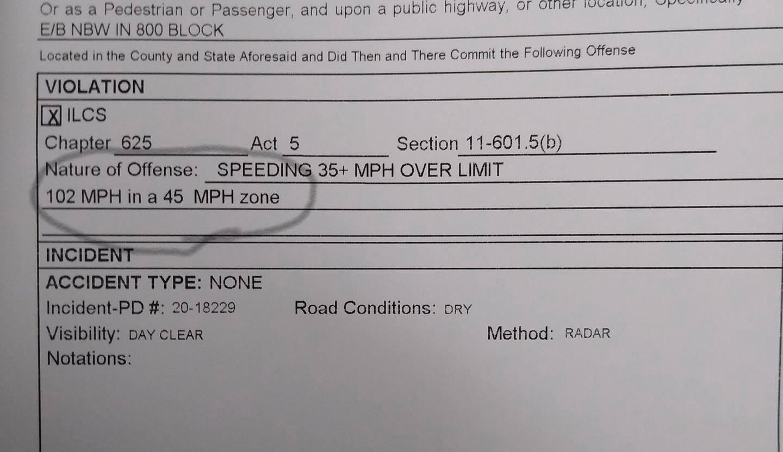 Illinois driver caught speeding 102 in a 45