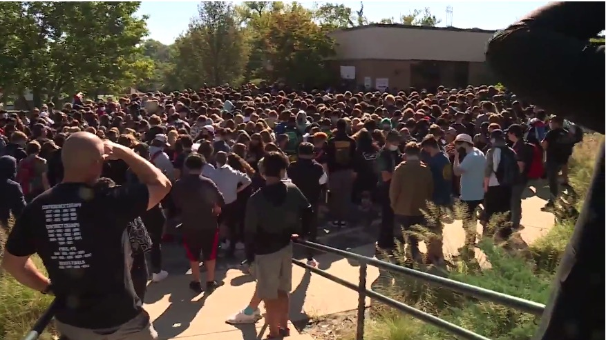 Student walk-out at Parkway Central High School